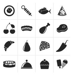 Black Different kind of food icons vector image