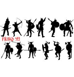 black viking set vector image