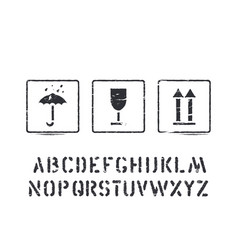 box sign rubber stamps and cargo alphabet vector image