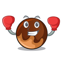 boxing chocolate donut character cartoon vector image