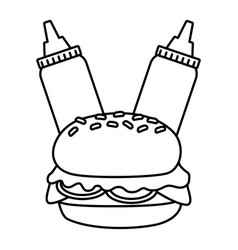 burger and sauces vector image