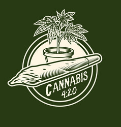 Cannabis monochrome emblem vector