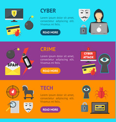 cartoon cyber crime security banner horizontal set vector image