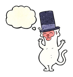 Cartoon monkey in top hat with thought bubble vector