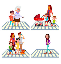 Character pedestrian crossing road set vector