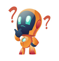 chatbot with question marks thoughtful robot faq vector image