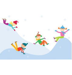 Children play on an ice hill vector