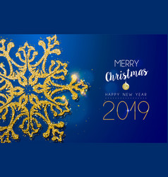 christmas and new year 2019 gold glitter snowflake vector image