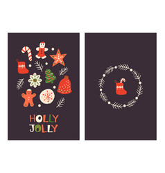 christmas greeting cards with cookies vector image
