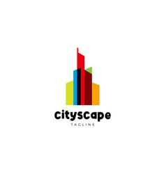 Colorful transparent city scape logo design vector