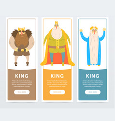 Colorful vertical banners of bearded kings with vector