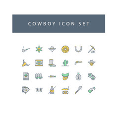cowboys icon set with filled outline style design vector image