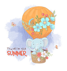 cute cartoon elephant in a balloon with flowers vector image