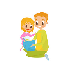 dad reading a book to his little daughter family vector image