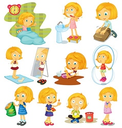 Daily routine a girl vector