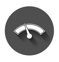 Dashboard icon level meter speed with long shadow vector