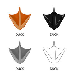 Design duck and paw symbol set duck vector