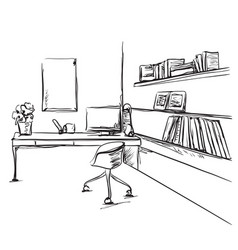 Desk with a computer or workplace in office drawn vector