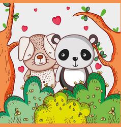 dog and panda bear loving cute cartoon vector image