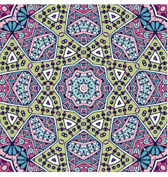doodle ethnic flower seamless pattern vector image