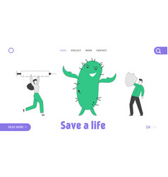 Epidemic disease and vaccination landing page vector