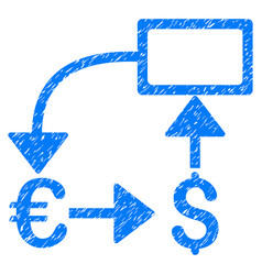 Euro dollar flow chart grunge icon vector