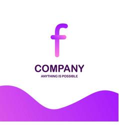 f company logo design with purple theme vector image