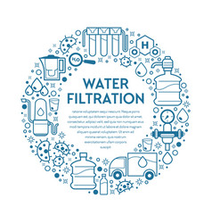 Filtering clean water mineral drink filtration vector