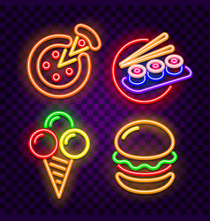 food and cafe neon signs on dark background vector image
