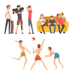 Friends spending good time together set guys vector