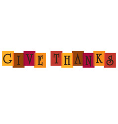 Give thanks typography on overlapping colors vector