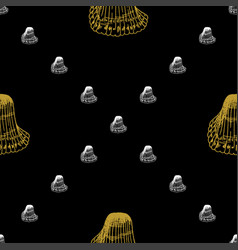 golden sketch seashell decor seamless pattern vector image