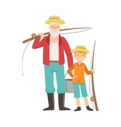 Grandfather and grandson going fishing part of vector