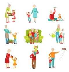 Grandparents and kids having fun together set of vector