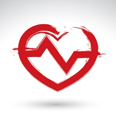Hand drawn red heart icon brush drawing heart sign vector