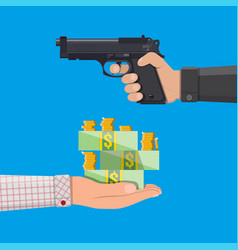 Hand of thief holding pistol and hand with money vector