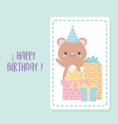 happy birthday little bear party hat and gift vector image