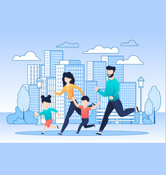 Happy family on jogging in city flat vector