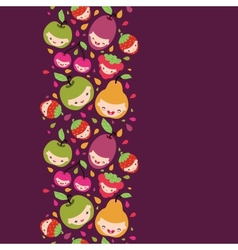 Happy fruit characters vertical seamless pattern vector