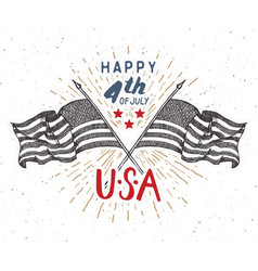 happy independence day fourth july vintage vector image
