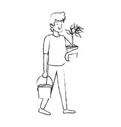 Happy man with plant icon image vector