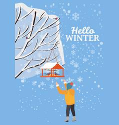 hello winter snow landscape bird feeder with vector image