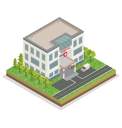 Hospital Building City Hospital Isometric vector