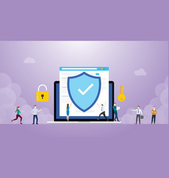internet security concept with browser and people vector image