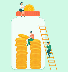 jar with dollars and coins investment investors vector image