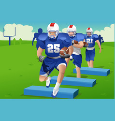 kids in american football practice vector image