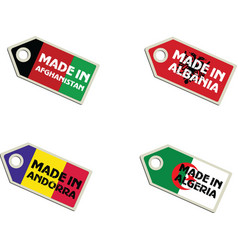 Label Made in Afghanistan Albania Algeria Andorra vector