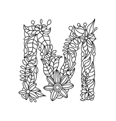 Letter M coloring book for adults vector image