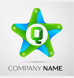 letter q logo symbol in the colorful star on grey vector image