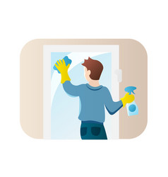Man cleaning window flat style icon guy doing vector